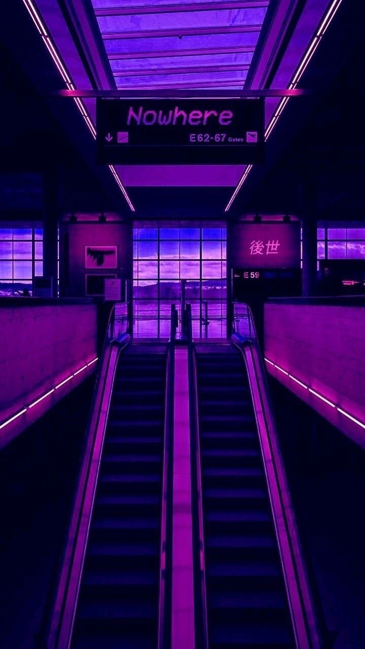 blue lights, purple aesthetic, purple lights and purple escalator