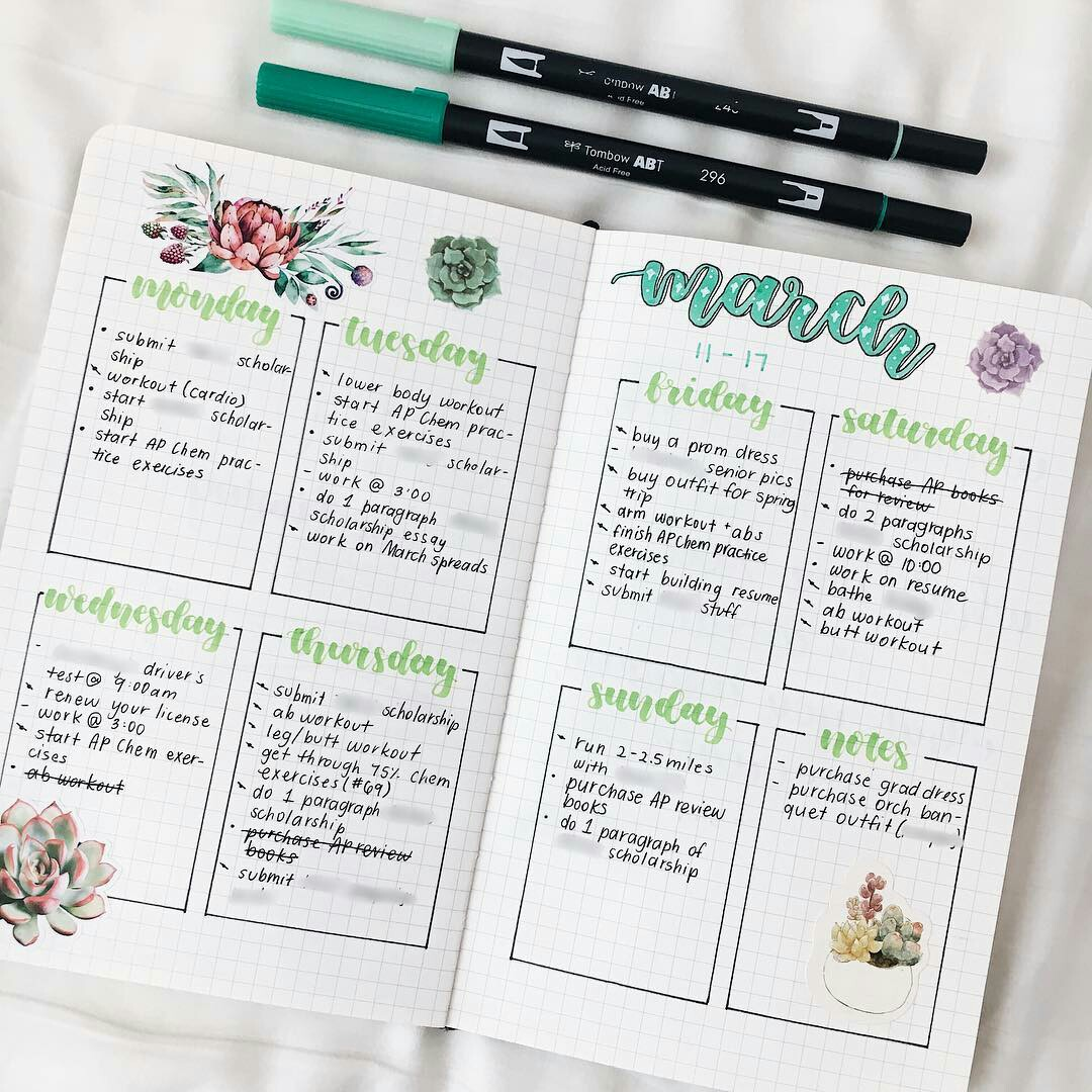 bullet journal, april, march and studyblr