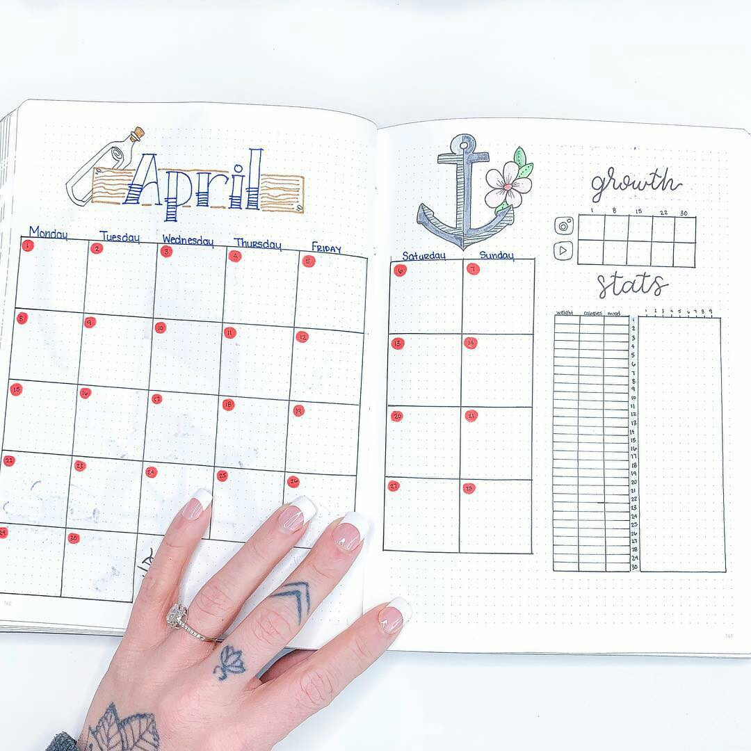 bullet journal, monthly view, tattoo and calendar