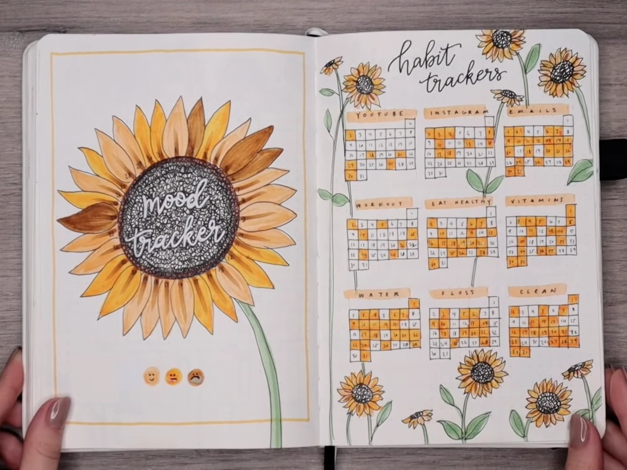 pretty design, bullet journal, sunflower mood tracker and mood tracker