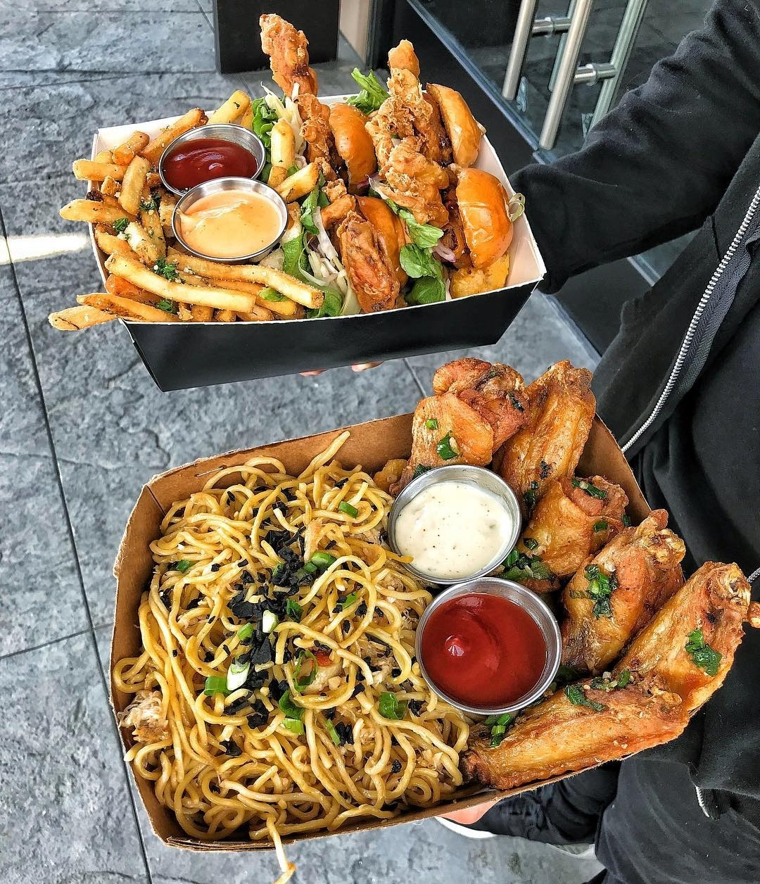 food, chicken wings, culture and fried noodles