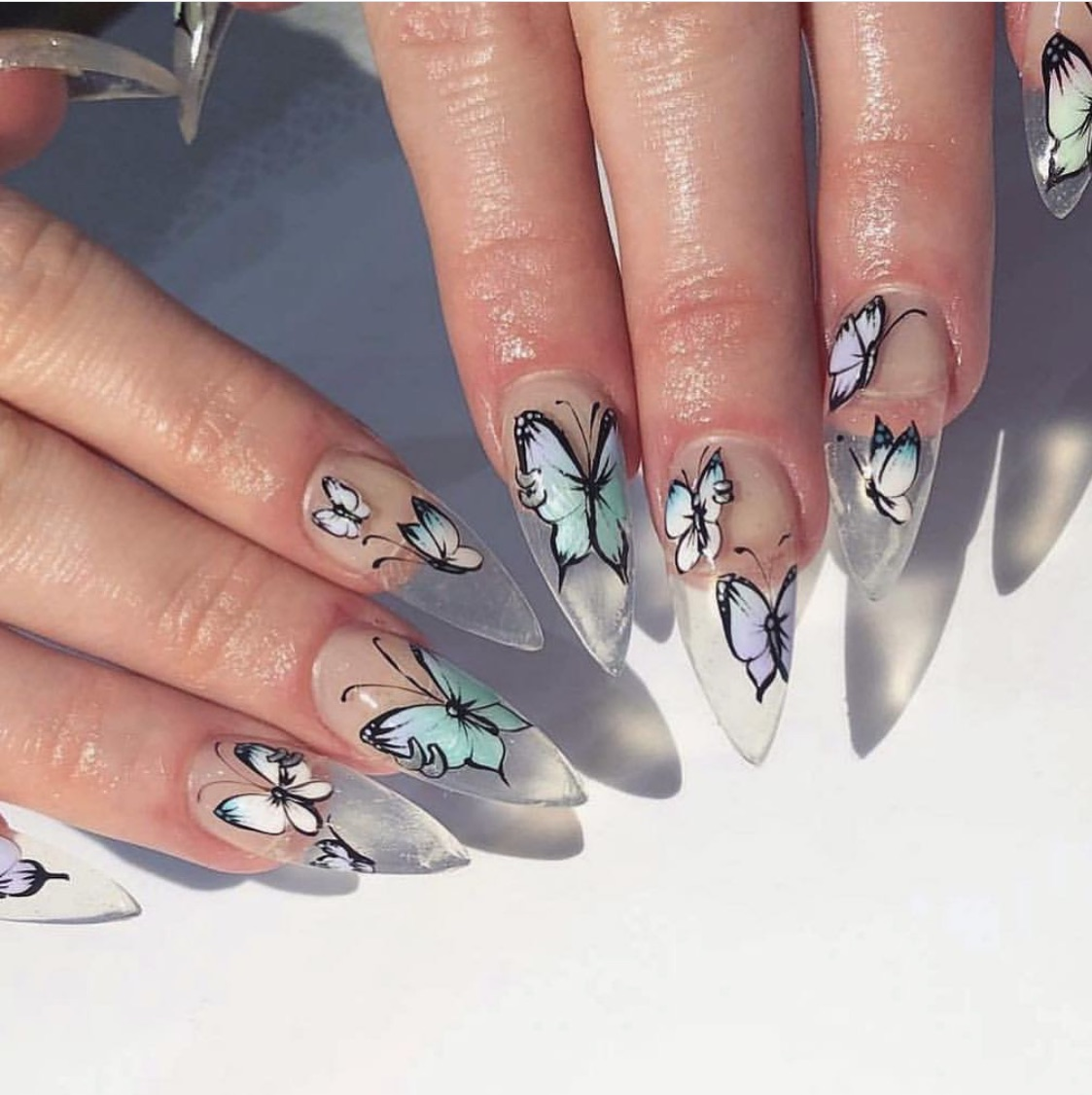 light blue, long nails, manicure and nails