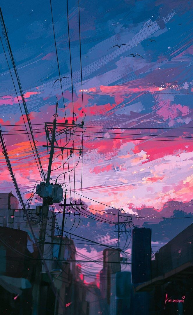 sunset colors, cityscape painting, sunset sky and city sunset