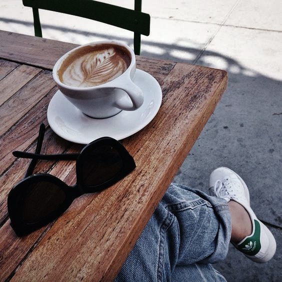 coffee art, cafe, sunglasses and brown