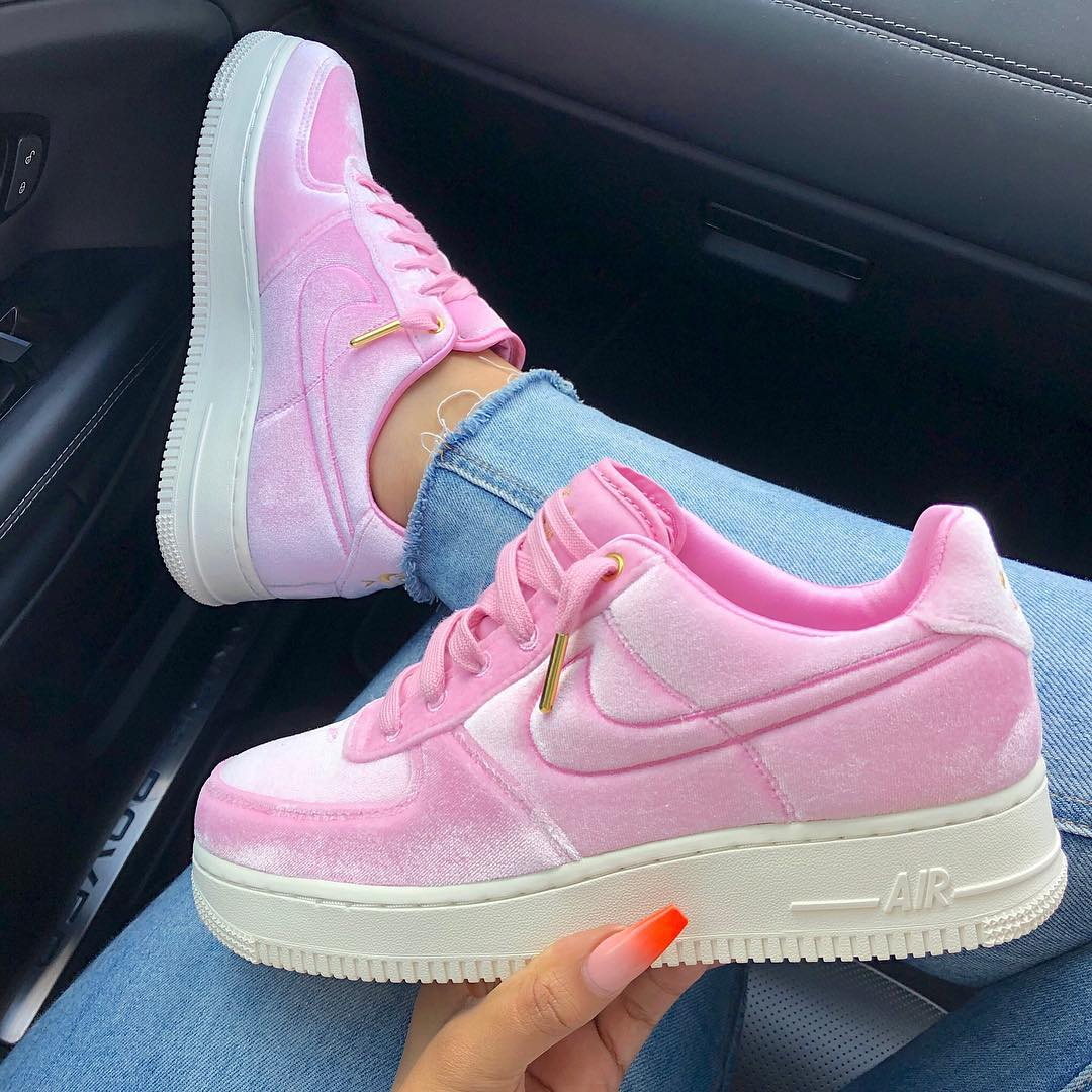 pink, shoes, nike air force and style