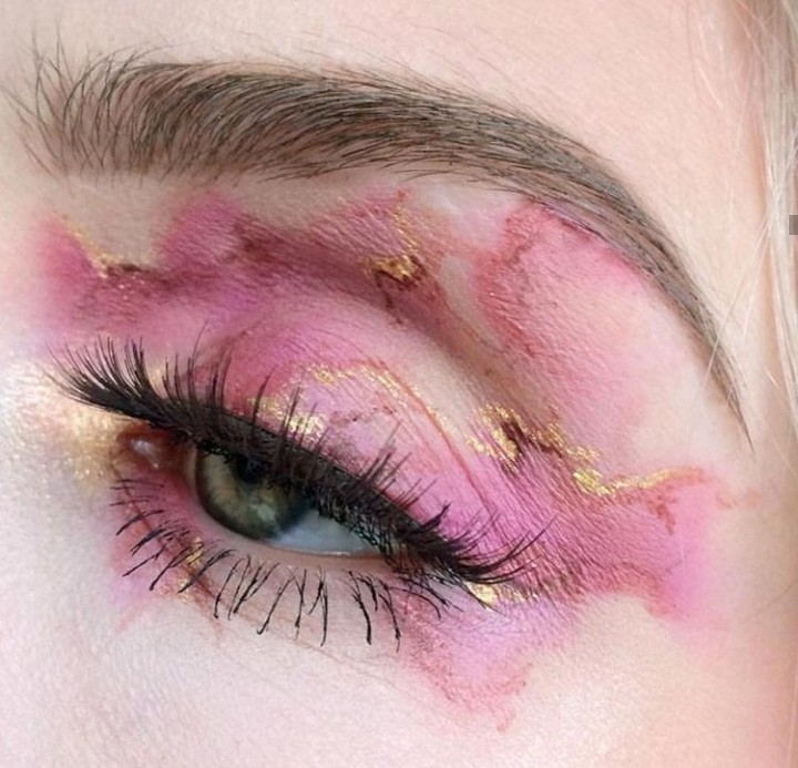 abstract makeup, eye makeup, aesthetic and gold