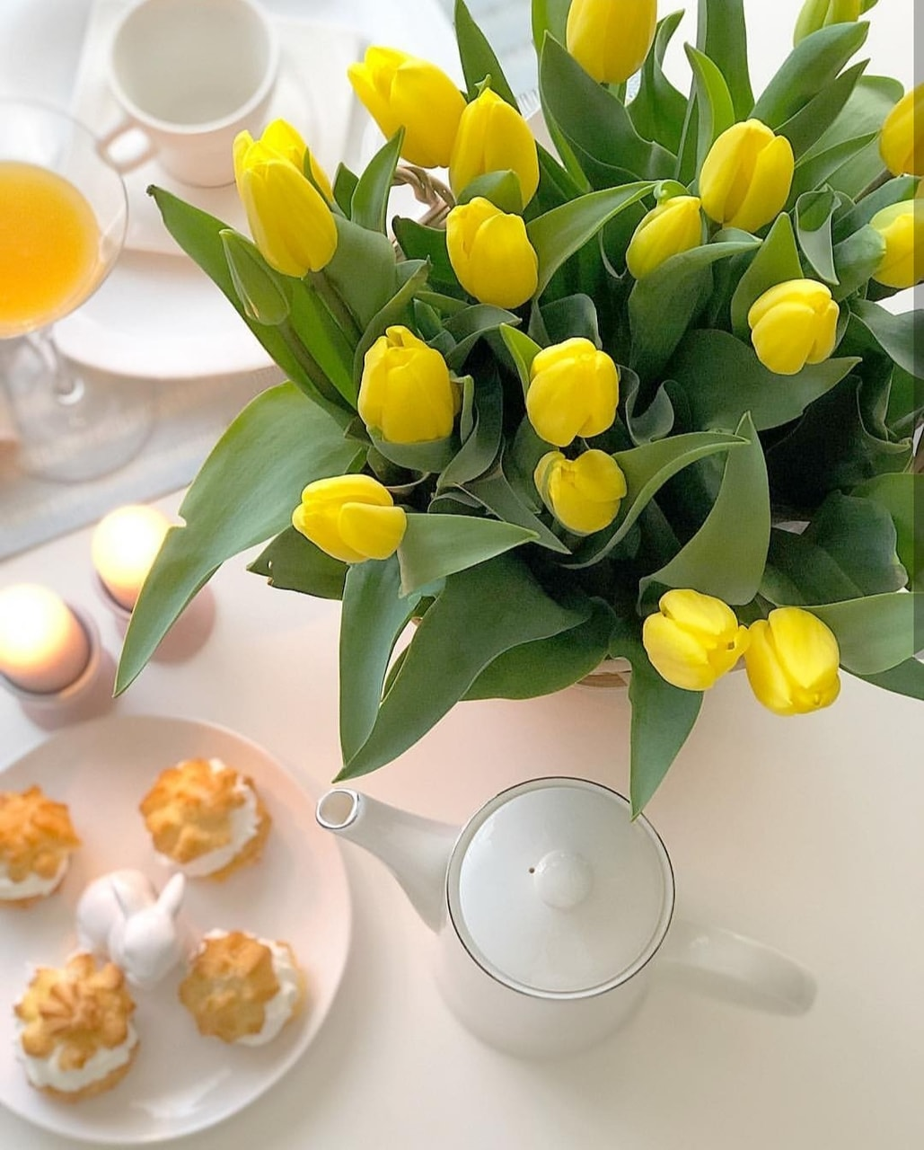 breakfast, yellow tulips, cup and tulips