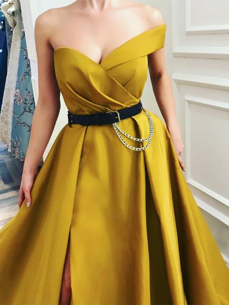 prom dresses, yellow formal dresses, prom dresses 2019 and dress with slit